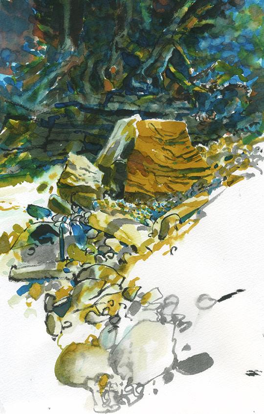 Rocks in creek bed