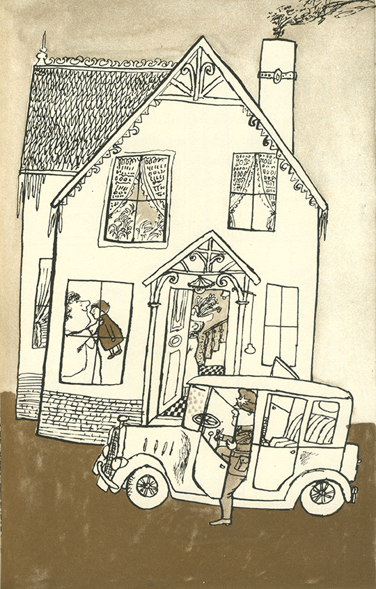 Boy brown jhouse and car